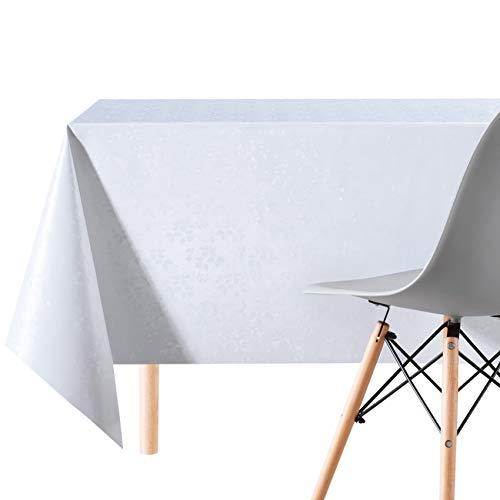 Abwischbare Vinyl-Tischdecke, weiß und grau - verschiedene Designs, Weiße/Blumen, 200 x 140cm (79x55 in)