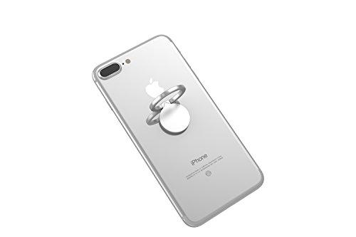 Kronya® | 360° drehbarer Smartphone Fingerhalter | Case Finger Griff Halter Halterung Handy Hülle Ring Ringhalter Ständer Tablet | Kompatibel mit Apple iPhone iPad Samsung Galaxy | 4 (Silber)