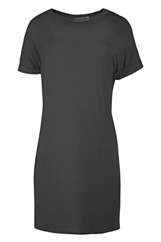 Women Ladies Plain Stretchy Baggy Oversized Turn Back Sleeve T-shirt Top Dress