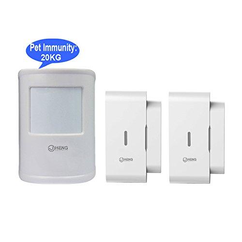 JC 433 MHz Wireless Digital PIR Detektor, Bewegungsmelder Sensor mit PET-Immunität Max 20kg, plus mit Wireless-Tür-Sensor (Pet-tür-sensor)