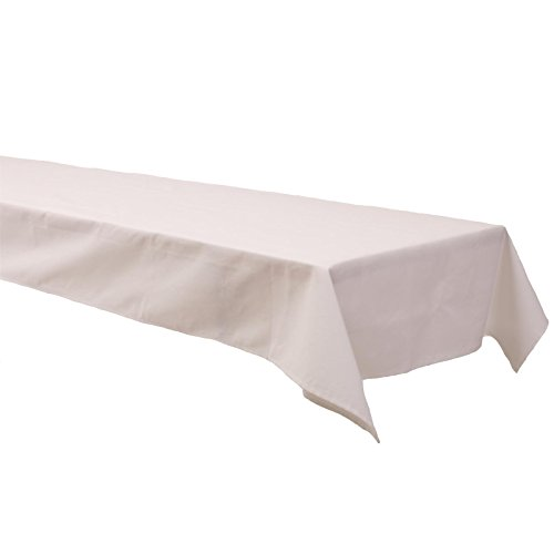 Biertisch Tischdecke 100x270 cm, Uni Weiß, Baumwolle Linon, schadstoffgeprüft, pflegeleicht,...