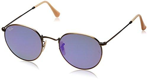 Ray Ban Unisex Sonnenbrille Round Metal, Mehrfarbig (Gestell: Bronze/Kupfer, Gläser: Violett Verspiegelt 167/1M), Medium (Herstellergröße: 50)