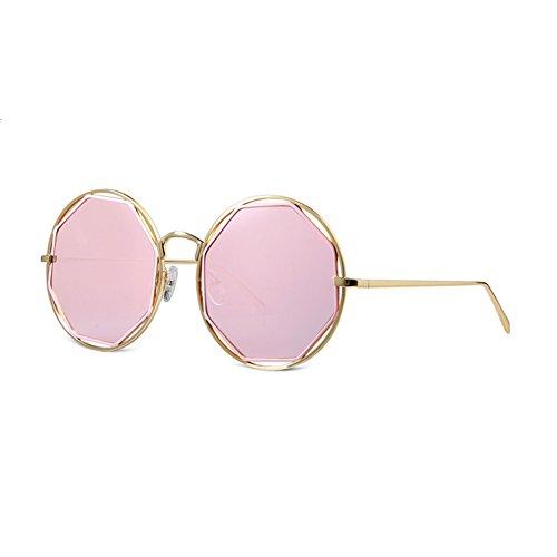 Gxy Sonnenbrillen personalisierte koreanische Straßenmode, polarisierte UV-Sonnencreme, große Harzdose Metall rund, Damen Damen Fahren Reisen Wayfarer Aviator (Color : PINK)