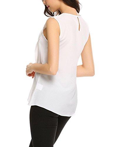 Meaneor Tops Damen Tank Armlos Shirt Rundhals Bluse Tunika sexy Oberteil in 3 Frabe Weiß