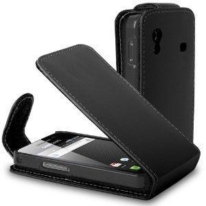 Deet TM12 - nero custodia in ecopelle per Samsung Galaxy Ace S5830. Custodia in similpelle con chiusura a portafoglio - Con Cassa/Porta Carte di Credito e pellicola proteggi schermo