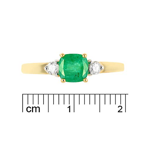 Ivy Gems 9ct Yellow Gold Emerald and Diamond Solitaire Ring Size P