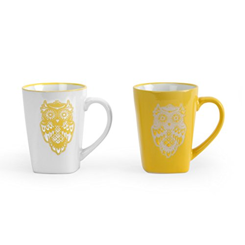 @home by Nilkamal Yellow & White Color Coffee Mugs Set of 2 With Wise Owl Print  available at amazon for Rs.299