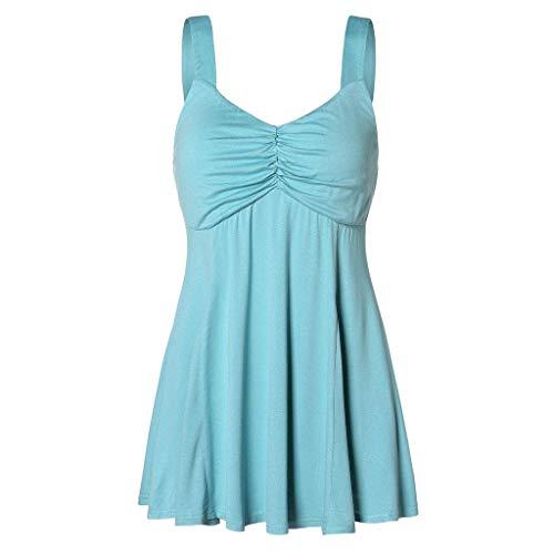 Yvelands Damen Mode Weste Ärmelloses T-Shirt Lässig Solide V-Ausschnitt Camis Geraffte Plain Tank Top Bluse(Blau,M)