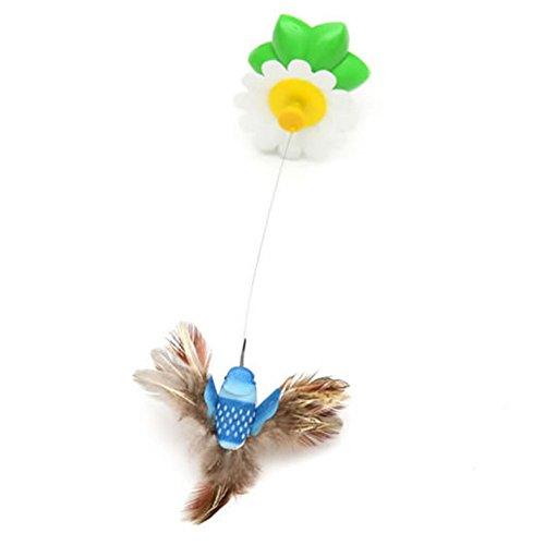 vi. Yo elettrico seduta girevole uccello divertente gatto domestico gattino giocattolo interattivo giocattoli Play Catch Tease Wire giocattoli (colore casuale, senza batterie)