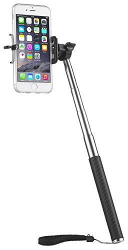 xcessory Selfie-Set aus Selfie Stange und Bluetooth Selbstauslöser für Handys und Smartphones von Apple und Samsung: iPhone 3G/3GS/4/4S/5/5S/5C/6, Galaxy S3, S3 mini/ S4, S4 mini/ S5, S5 mini,  Selfie Stange auch geeignet für Nokia, HTC, Blackberry, Huawei, LG, etc.