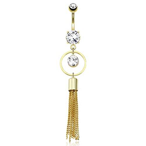 Paula & Fritz anello ombelico con cristalli zirconi ciondolo in acciaio inox 316L placcato oro 14K con Multiple Hanging catene gdpn14055