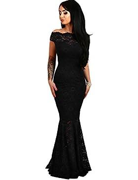 elegante abito cerimonia da donna in pizzo stile a sirena vestito lungo damigella festa
