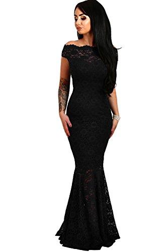 be0499eeb21d elegante abito cerimonia da donna in pizzo stile a sirena vestito lungo  damigell