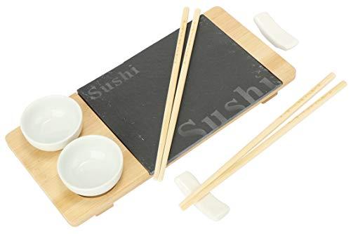 com-four® Juego de 7 Piezas de Sushi - Plato para Servir de Pizarra y Madera de bambú - con Cuencos para Salsa de Soja y Palillos (7 Partes - V1)