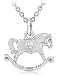 Lily and Lotty Kinder-Kette mit Anhänger Silver Rhodium plated Hollie double sided Rocking horse pendant chain with two diamonds 925 Silber Diamant (0.001 ct) transparent Rundschliff 41 cm - 0.01.0480