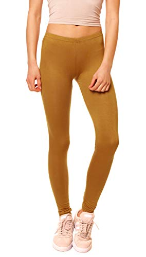 Easy Young Fashion Damen Basic Viscose Jersey Leggings Leggins Lang Uni Einfarbig One Size Curry
