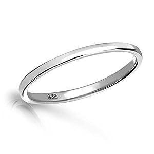 Precious Pieces Ring aus Sterlingsilber für Mädchen, 2mm breit.