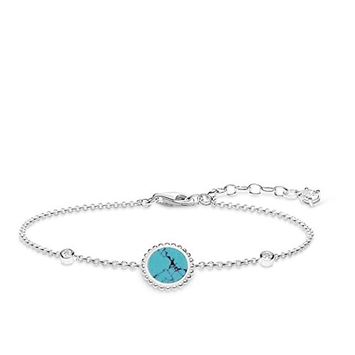 Thomas Sabo Damen-Armband Türkiser Stein Glam & Soul 925 Sterling Silber Länge von 16 bis 19 cm A1767-405-17-L19v