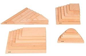 TickiT 73436 Natural Architect Panel Set de 24 Arcos, rectángulos, Cuadrados y triángulos