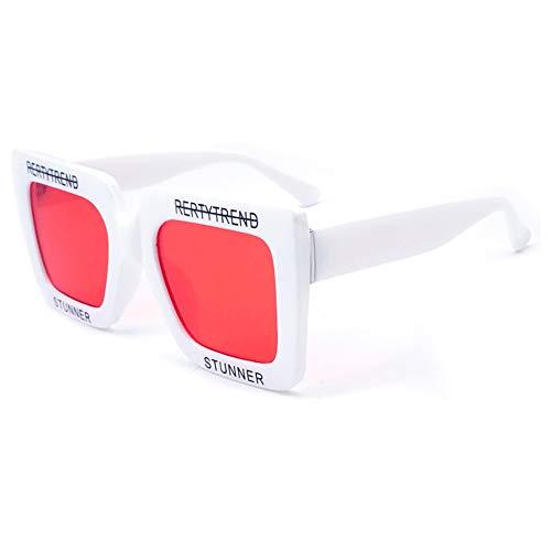 Lxc Damen Weiße Kunststoff Große Quadratische Sonnenbrille Personalisierte Brief Brille UV400 Schutz Modetrend Zeige Temperament (Farbe : Red)