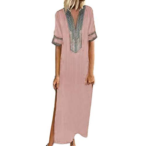 Sannysis Damen Maxikleid Langes Elegantes Kleid Strandkleider Türkischer Stil Boho Strandponcho Lose Maxi Kimono Kaftan Tunika Lange ()