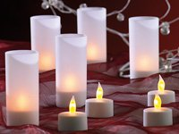 12 LED Teelichter inklusive Dekogläsern und Ladestation von LUNARTEC von Lunartec / Pearl
