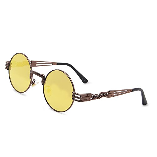 AMZTM Retro Steampunk Verspiegelt Sonnenbrille Klassischer Kreis Hippie Brille für Damen Herren Polarisierte Linse Runder Metallrahmen UV400 Schutz Alte Mode Brille (Dunkelbraun Rahmen Gold-gelb, 49)