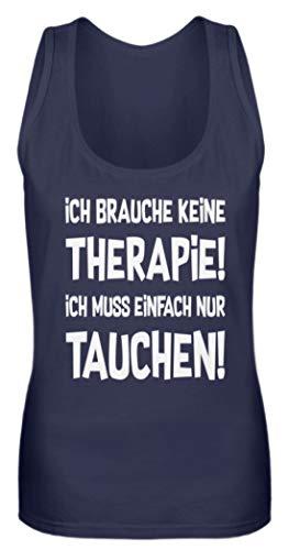 shirt-o-magic Taucher: Therapie? Lieber Tauchen! - Frauen Tanktop -M-Dunkel-Blau -