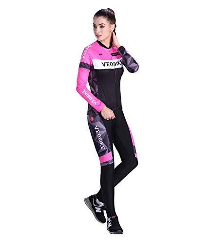 SonMo Damen Schutz Radjacke + Fahrradhose Radfahren Jersey Set Fahrradbekleidung Set Langarm Radtrikot Sommer Reflektorstreifen Rosa S