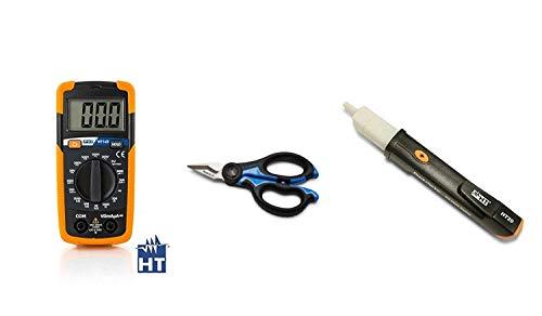 HT Kit Promo HT14D Multimetro digitale tascabile - AC/DC fino a 500V + HT20 Strumento Cercafase Elettronico + Forbice per elettricista Cembre SC5X Robust-a in acciaio