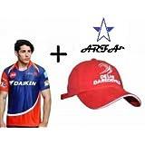 Combo - 1 DD (Delhi Daredevil) IPL T-Shirt & 1 DD Cap For 16 - 20 Years Boy Or Girl By Aaina ARFA.