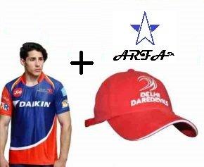 ARFA (Trade Mark) Combo - 1 DD (Delhi Daredevil) IPL T-Shirt & 1 DD Cap for 16 - 20 years boy or Girl by Aaina ARFA.