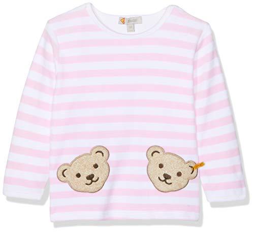 Steiff Unisex - Baby Sweatshirt, gestreift Doppelbären Shirt 0002891, Gr. 68, Rosa (barely pink 2560) -