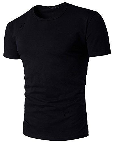 Herren Loch Kurze Ärmel T-Shirt Slim Fit Mit Rundhals Schwarz
