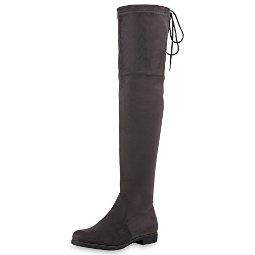 SCARPE VITA Damen Overknees Leder-Optik High Stiefel Boots Basic Look 164147 Grau 40