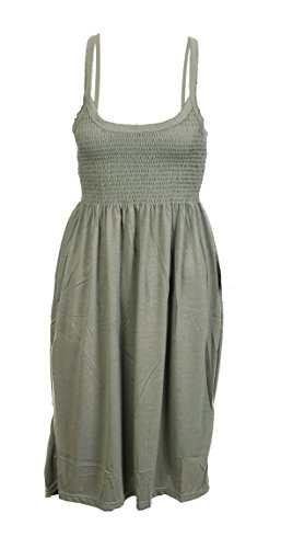 Women Camisole Neck Cami Sleeveless Flared Swing Strappy Vest Celebrity Summer Beach Ladies Dress Top Size 10 12 14 16 18 20 (18-20, Olive)