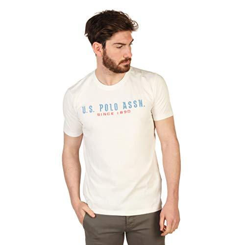U.S.POLO ASSN. Herren T-Shirt mit Stick auf Brust Shirt Hemd T-Shirt (XL, Weiß)