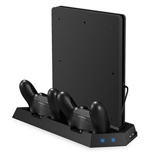 Jelly Comb PlayStation 4 Slim Multifunktionsstandfuß Ladestation mit Dual Charger, PS4 Slim Vertical Stand Controller Ladegerät mit Lüfter, PS4 Slim Kühler mit USB HUB - Schwarz