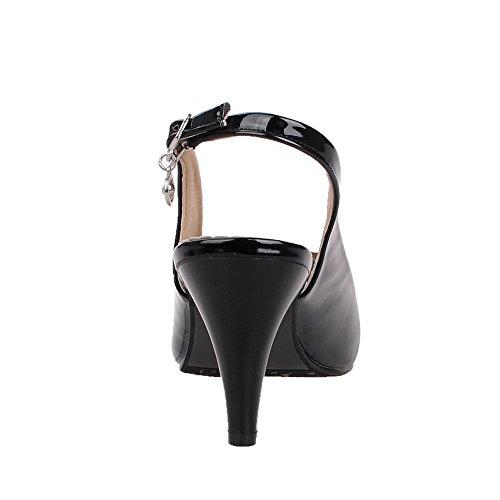 Odomolor Donna Fibbia Tacco Alto Luccichio Puro Metallo Pezzo Sandali Nero
