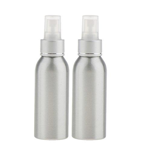 Gazechimp 2-er Pack - Sprühflasche Aluminium Wassersprühflasche Zerstäuber Parfümzerstäuber Leere Sprühflasche Friseur Fingerzerstäuber - Silber 120ml