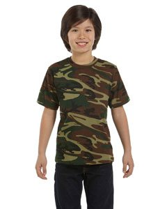 Youth Camouflage T-Shirt GREEN WOODLAND XS - Kids Woodland Camouflage T-shirt
