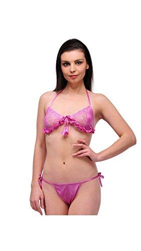 Oleva Light Pink Bra Panty Satin Set OSBP-13-LightPink  available at amazon for Rs.224