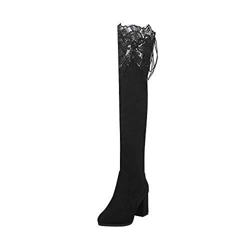Botas de tacón de Rodilla para Zapatos de Mujer, 70s Goth Chukka Lace Muslo Martin Desert Tactical...