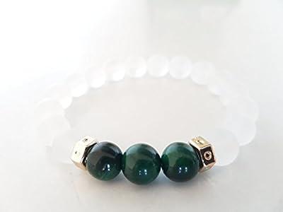 Bracelet femme quartz blanc givré, oeil de tigre vert