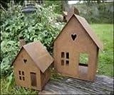 ecosoul Gartendeko Haus Laterne Gartenlicht Zum Stellen Metall Rost Deko