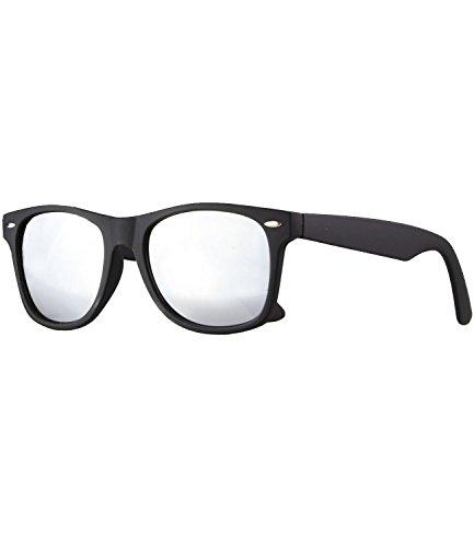 Caripe Retro Nerd Vintage Sonnenbrille verspiegelt Damen Herren 80er - SP (schwarz matt gummiert - Silber verspiegelt)