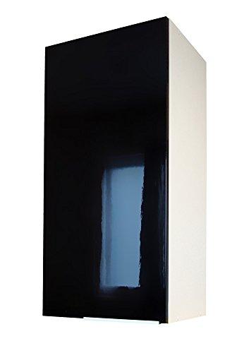 Berlenus CP3HN - Pensile da cucina a 1 anta, 30 cm, colore: nero lucido
