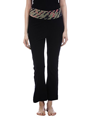 Clovia Cotton Flared Bottom Yoga Pants With Black Printed Waist Band