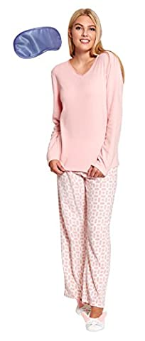 i-Smalls Women's Warm Fleece Pyjamas & Rabbit Slippers with Lilac Eye Mask (Medium)