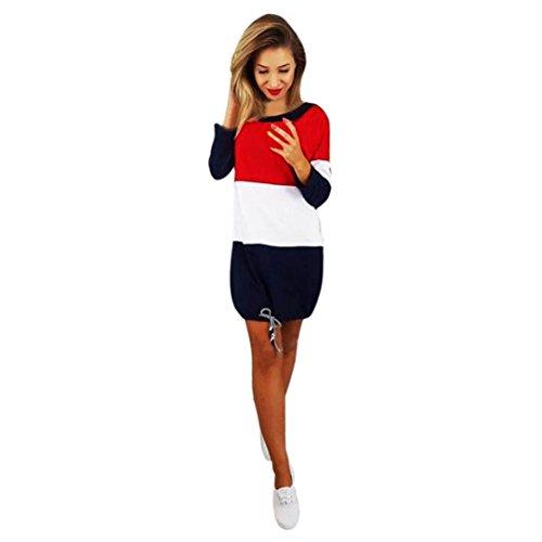 Streifen Party Kleid Beiläufig Lange Ärmel Lässig Strand Mini Kleid (L) (Urlaub Shirts Für Kinder)